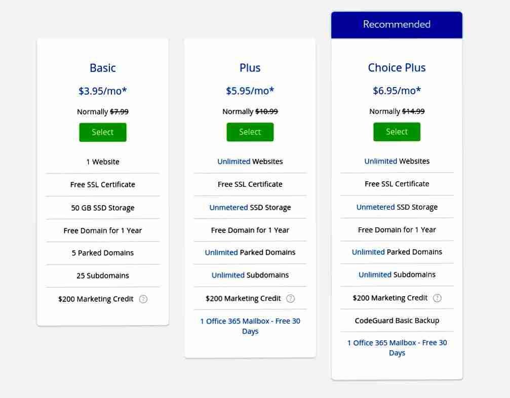bluhost web hosting plans