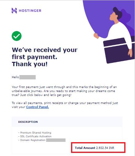 Hostinger India payment